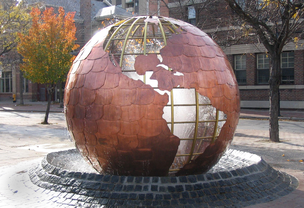 Bronze Globe World Peace Monument,Toronto, Ontario