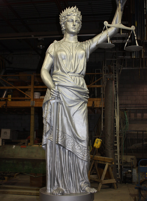 lady of justice statue in zinc