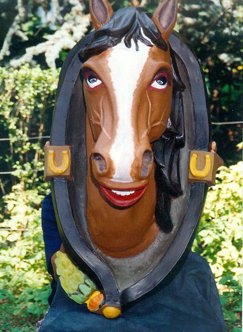 Restored sheet metal sculpture of horses head