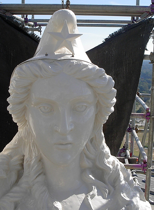 statue sheet metal restoration miss freedom face georgia state capitol