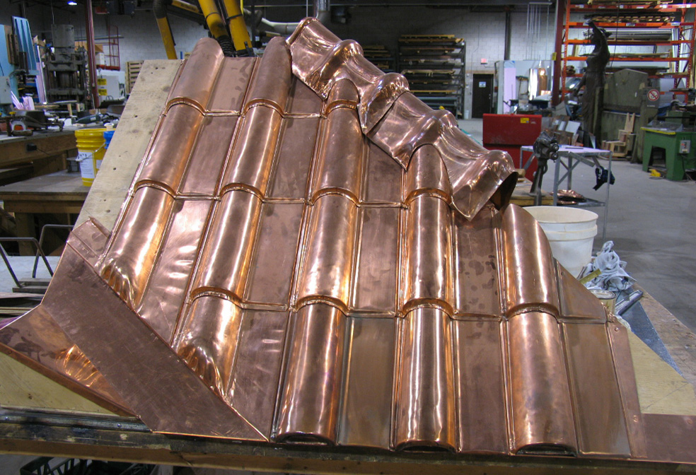copper spanish tile sheet metal roof tiles
