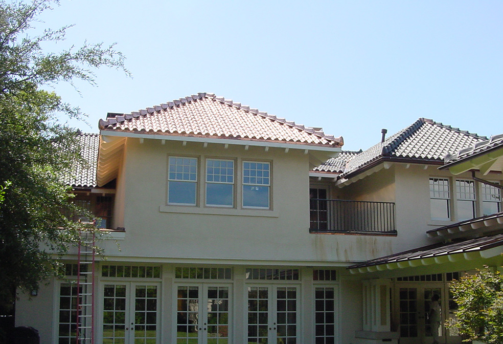 spanish sheet metal roof tiles on home